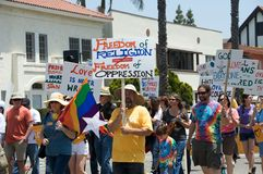 Lesbienne et défilé homosexuel 2012 de Long Beach de fierté Photographie stock libre de droits