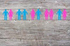 Lesbienne gaie et couples droits sur le fond en bois Photo stock