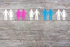 Lesbienne gaie et couples droits sur le fond en bois Photographie stock libre de droits