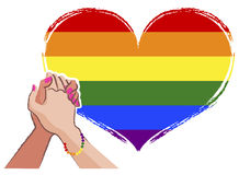 Lesbienne hand in hand - LGBT-concept vector illustratie
