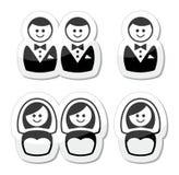Vrolijke/lesbische geplaatste huwelijkspictogrammen royalty-vrije illustratie
