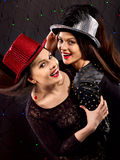 Lesbiennesvrouwen die op partij dansen Royalty-vrije Stock Foto's