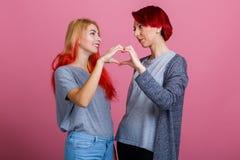 Lesbijki patrzeją each inny i robią kierowej postaci na różowym tle Fotografia Stock