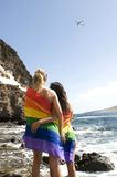 Lesbisch en vrolijk reisconcept Stock Fotografie
