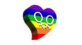 Lesbisch paar in het hart van de regenboogkleur Stock Fotografie