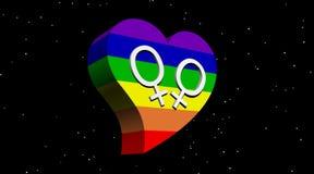 Lesbisch paar in het hart van de regenboogkleur in nachtverstand Stock Afbeelding