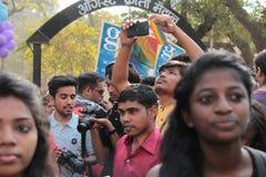 Lesbische en Vrolijke parade in Mumbai Stock Foto