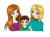 Lesbische familie met kind Royalty-vrije Stock Afbeelding