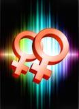 Lesbische Geschlechts-Symbole auf abstraktem Spektrum-Hintergrund Stockbilder