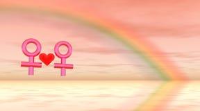 Lesbische Liefde onder Regenboog royalty-vrije illustratie