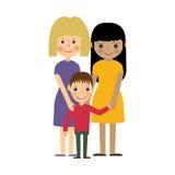 Lesbisk familj med ungen Glad barnuppfostran Royaltyfria Foton