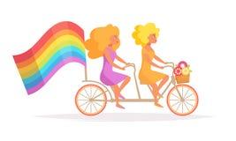 Lesbiska kvinnor på en tandem cykel royaltyfri illustrationer