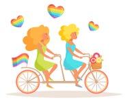 Lesbiska kvinnor på en tandem cykelvektor stock illustrationer