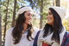 Lesbiska par i en lantlig inställning som ser de royaltyfri fotografi