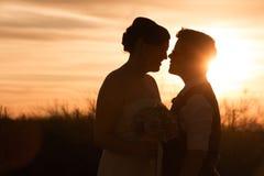 Lesbiska par på solnedgången royaltyfria foton