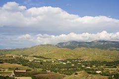 Lesbos, Lesvos. Heuvels op Lesbos; Hills on Lesvos stock images