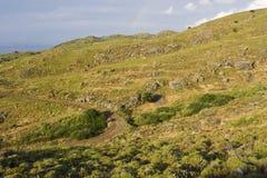 Lesbos, Lesvos. Heuvels op Lesbos; Hills on Lesvos stock photos
