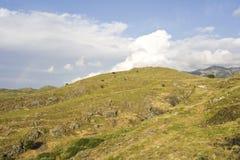 Lesbos, Lesvos. Heuvels op Lesbos; Hills on Lesvos stock photography