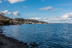 Leschi Shoreline. A view of the shoreline in the Leschi neighborhood on Lake Washington near Seattle Royalty Free Stock Images