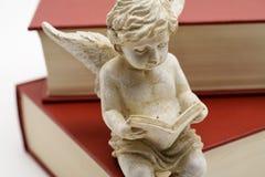 Leseengel, der auf einem Buch sitzt Stockfotos