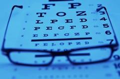 Lesegläser oben auf ein Augendiagramm Lizenzfreie Stockfotos