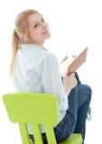 Lesen der jungen Frau mit Buch Lizenzfreies Stockbild
