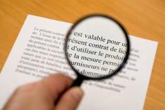 Lesen des feinen Druckes auf französisch Lizenzfreie Stockbilder