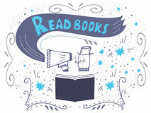 Lesen Sie Buchaufschrift für Einladung Stockfoto