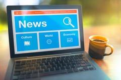 Lesenachrichten online vom Internet Lizenzfreies Stockbild