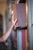Leser, der zurück Buch in einsetzt lizenzfreie stockbilder