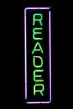 Leser-Neonzeichen lizenzfreies stockbild