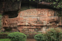 Leshan, China Giant Buddha Park. Leshan Giant Buddha Park. Carved into a mountain thousands of years ago Royalty Free Stock Photos