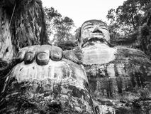 Leshan Giant Buddha. Dafo, UNESCO World Heritage site, Le Shan City, Sichuan, China, in black and white Royalty Free Stock Photos
