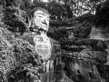 Leshan Giant Buddha. Dafo, UNESCO World Heritage site, Le Shan City, Sichuan, China, in black and white Royalty Free Stock Image