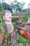 Leshan Giant Buddha. The Grand Buddha in Leshan is located in Sichuan province; it is the largest stone Buddha in the world and is one of the most famous places Stock Photo