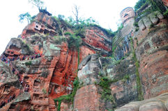 Leshan Giant Buddha. The Grand Buddha in Leshan is located in Sichuan province; it is the largest stone Buddha in the world and is one of the most famous places Stock Images