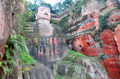 Leshan Giant Buddha. The Grand Buddha in Leshan is located in Sichuan province; it is the largest stone Buddha in the world and is one of the most famous places Royalty Free Stock Photo