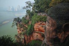 Leshan jätte- Buddha, Kina Arkivbilder
