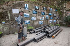 Leshan Qianwei Kayo huangcun coal mine shaft station huangcun wellhead historical figure sculpture. Leshan City, Sichuan Qianwei Kayo huangcun coal mine shaft Stock Images