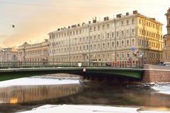 Leshtukov bridge across Fontanka river Stock Photos