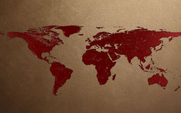 Lesion in Leather of World map Royalty Free Stock Photography