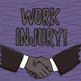 Lesione di lavoro del testo di scrittura di parola Concetto di affari per l'incidente cui si è presentato durante e come risultat royalty illustrazione gratis