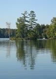 Lesista wyspa Odbijająca w Spokojnym jeziorze Zdjęcia Stock