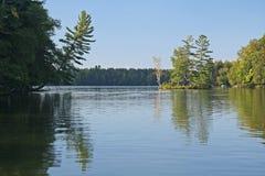 Lesista wyspa Odbijająca w Spokojnym jeziorze Zdjęcia Royalty Free