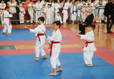 Leskovac, INTERNATIONALER KARATE Serbiens Srbija am 25. November IPPON ÖFFNEN 2018: Karatekindersportwettbewerbe in der Sporthall stockbild