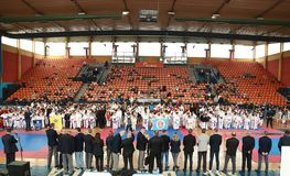Leskovac, Serbia Srbija November 25 INTERNATIONAL KARATE IPPON OPEN 2018 : Karate kids sports competitions in sport hall. Leskovac, Serbia Srbija November 25 stock photos