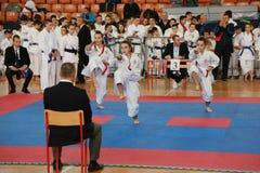 Leskovac, Serbia Srbija November 25 INTERNATIONAL KARATE IPPON OPEN 2018 : Karate girls sports competitions in sport hall. Leskovac, Serbia Srbija November 25 stock photos