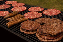 Leskovacka pljeskavica. Grilling burgers on the charcoal Royalty Free Stock Image