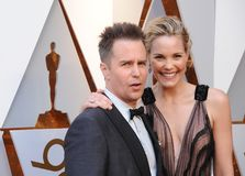 Leslie Bibb and Sam Rockwell royalty free stock images