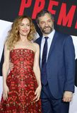 Leslie Mann and Judd Apatow. At the Los Angeles premiere of `Blockers` held at the Regency Village Theatre in Westwood, USA on April 3, 2018 royalty free stock photo